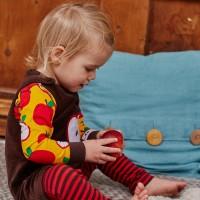 Vorschau: Elastisches Baby- und Kinderlangarmshirt neutral - Apfel