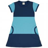 Leichtes Kleid kurzarm im Block-Design blau-hellblau