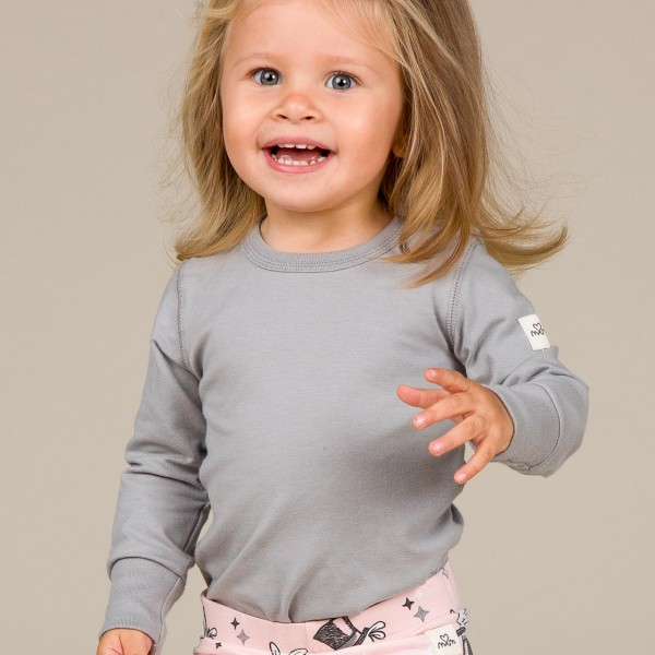 Shirt langarm dusty grey breite Armbündchen