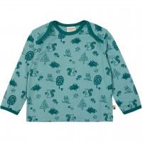 Leichtes Shirt langarm Waldtiere grün