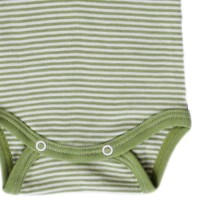 Vorschau: Atmungsaktiver Body Wolle Seide grün gestreift