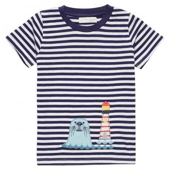 Jungen Robben Leuchtturm Shirt navy