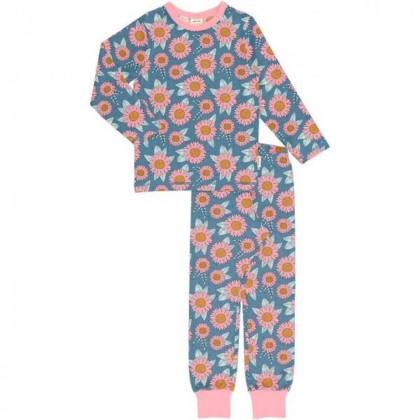 Schlafanzug langarm Sonnenblumen blau