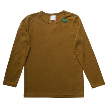 Basic Langarmshirt in Gold oliv-grün