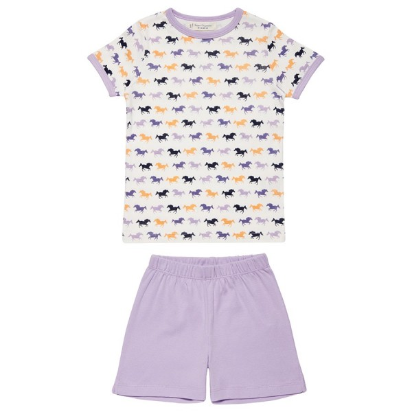Bio Schlafanzug Sommer kurze Hose lila