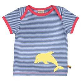 Gestreiftes leichtes T-Shirt Delfine pacific