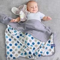 Vorschau: Bio Babydecke Kreise blau