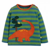 Shirt langarm Dino Aufnäher grün