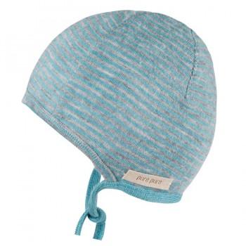 Dünne Erstlingsmütze Wolle Seide pastellblau