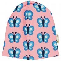 Leichte Beanie Schmetterlinge rosa hellblau
