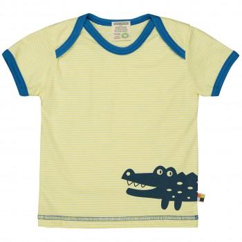 Leichtes Ringel Kurzarm Shirt gelb Tiermotiv