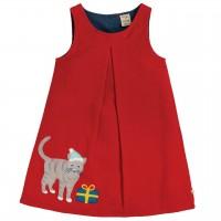 Mädchen Cordkleid in rot Katze