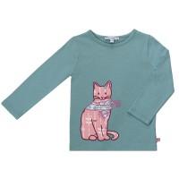 Katzen Shirt aufgenäht super edel petrol
