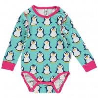 süsser Bio Langarmbody elastisch Pinguin für Mädchen
