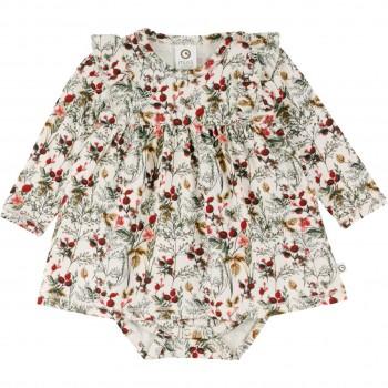 Langarmbody mit Kleidchen Winterblumen in creme