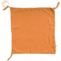 Schmusetuch mit Beißring haselnussbraun 35 x 35 cm