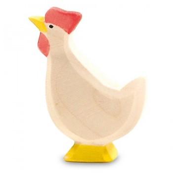 Huhn weiss nach oben schauend Holzfigur 6 cm hoch