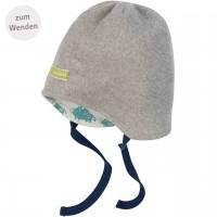 Mütze zum Wenden und Binden Fleece grau