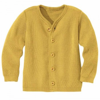 Leichte warme Strickjacke Wolle atmungsaktive senf
