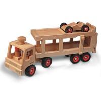Vorschau: Autotransporter aus Echtholz + 1 Auto