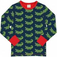 Krokodil Shirt langarm Bündchen in navy