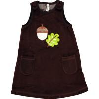 Warmes Velours Kleinkind Kleid ohne Arm - Haselnuss
