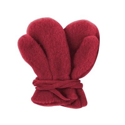 Kuschlige Fleece Schurwolle Handschuhe ungefüttert rot