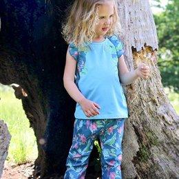 Sommer Shirt Papagei blau Aufnäher