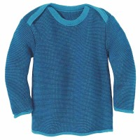 Baby Pullover Melange Schlupfkragen blau