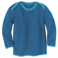 Baby Pullover Melange Schlupfkragen blau
