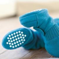 Warme Babyschuhe Klettverschluss Schurwolle blau