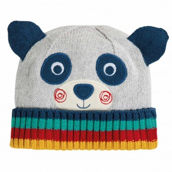 Strickmütze Kinder in Panda-Look grau