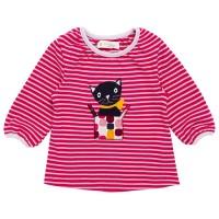 Dickeres Langarmshirt elastisch Kätzchen Aufnäher pink