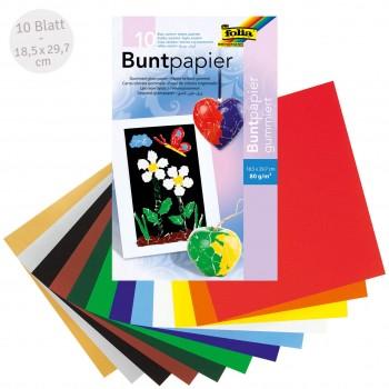 Buntpapier gummiert 10 farbig – 18,5 x 29,7 cm