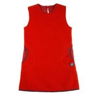 Rotes Mädchen Fleece-Woll Kleid