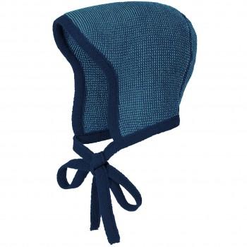 Strick Häubchen Schurwolle blau