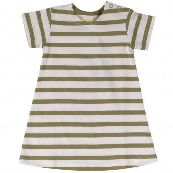 Kleid Streifen kurzarm in oliv-grün