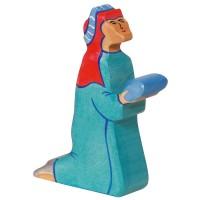Holztiger Balthasar kniend Holzfigur