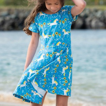 Flatter Sommerkleid Einhörner
