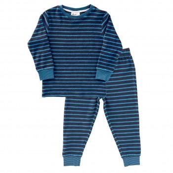Warmer Frottee Schlafanzug dunkelblau geringelt