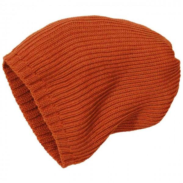 Kinder Strick-Beanie Schurwolle orange