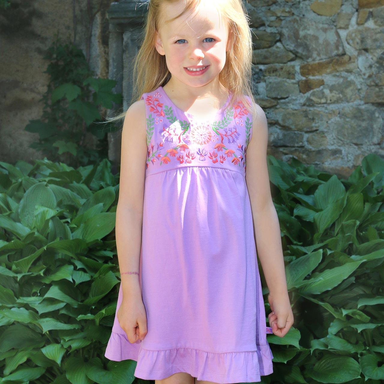 Enfant Terrible Kleid ohne Arm Stickerei in lavendel