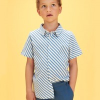 Blaues kurzarm Streifen Hemd