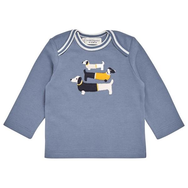Bio Babyshirt blau Aufnäher Hunde
