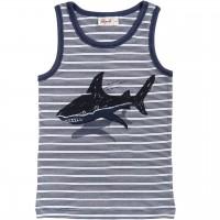 Jungen Unterhemd Hai Ringel in blau