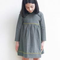 Langarm Kleid Musselin Doppellagig grau