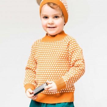 Retro-Look Strick Pullover in orange