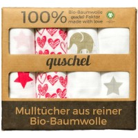 4er-Pack Mulltücher 65 x 65cm Elefanten/Sterne pink