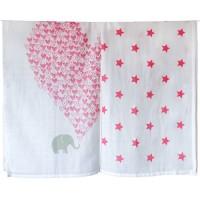 Bio Pucktuch XL 2er Pack Sterne & Herzen pink