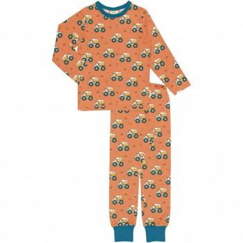 Schlafanzug langarm Kipplader orange